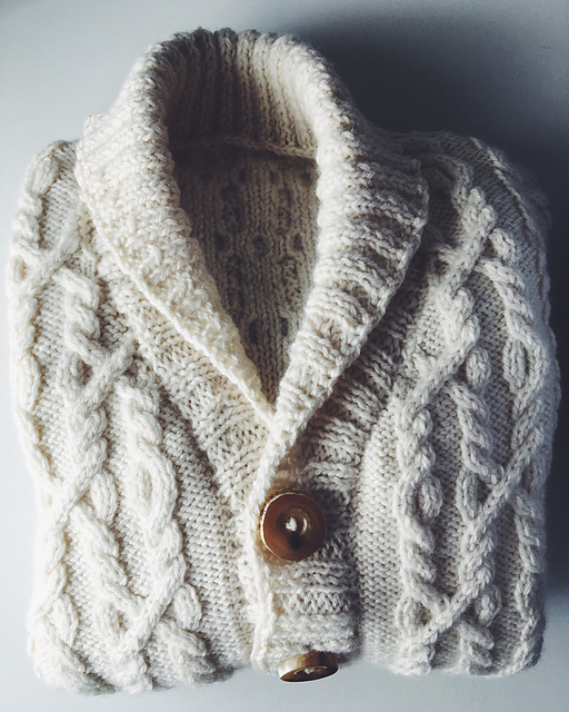 A cabled cardigan I knitted